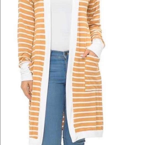 Sweaters - Mustard Stripe Cardigan